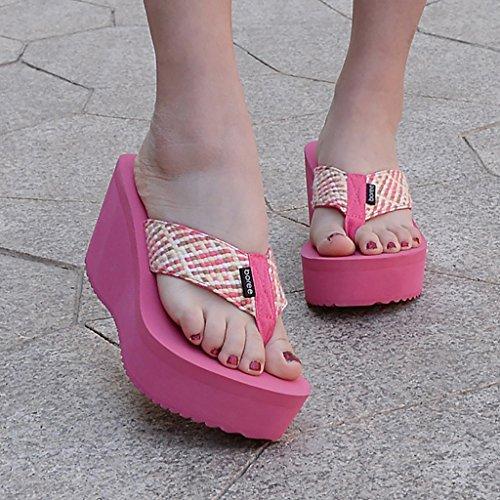 e Pendenza Fondo da Scarpe Primavera outdoor infradito da morbido mare estate sandali donna Scarpe folk casa custom Fondo scarpe spesso infradito YLLXZ spiaggia Rossa Scarpe Rosa w5qPvwY