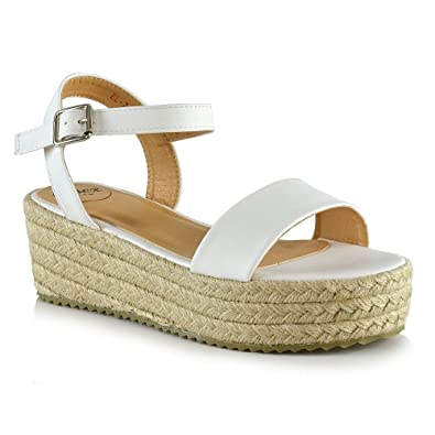 ESSEX GLAM Womens Platform Sandals White Synthetic Leather Flat Wedge Ankle  Strap Espadrilles Shoes 5 B
