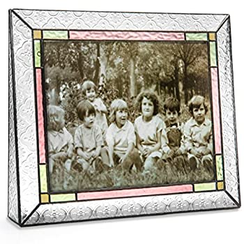 J Devlin Pic 137-81H Vintage 8x10 Picture Frame Table Top Photo Frame Multi Colored Stained Glass Keepsake Frame Home Decor