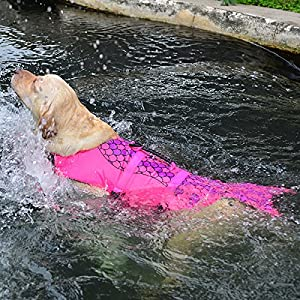 Dog life jackets Coat Vest Cosplay Mermaid Pet Swimming Training Dog Swimsuit (S)