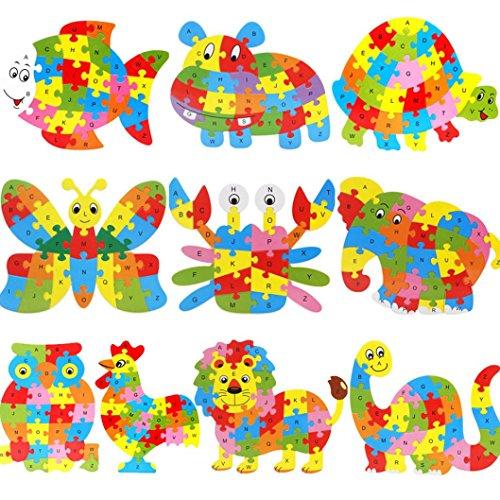 Spielzeug Oyedens Kind Lernspielzeug , Holz-Tier Puzzle Buchstaben BlöCke Puzzle