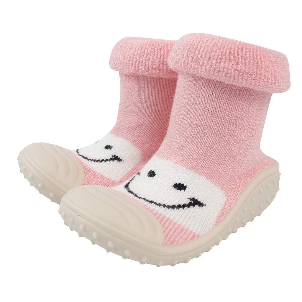 Marrivoe Baby Infant Toddler Girls Boys Cartoon Smile Winter Warm Prewalker Socks Shoes