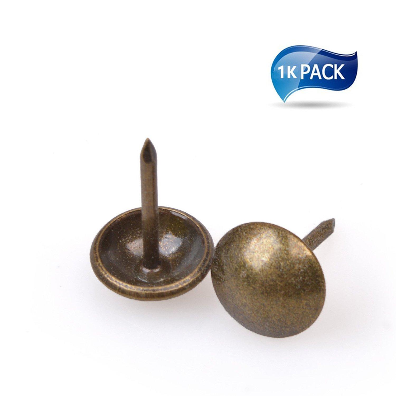 DIY Upholstery Nails,1000 PCS Furniture tacks, Upholstery Tacks, Thumb Tack Push Pins, 7/16in [Antique Brass Finish] …