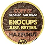 EKOCUPS Artisan Organic Hazelnut Flavored Coffee, Medium roast , in Recyclable Single Serve Cups for Keurig K-cup Brewers, 40 count by EkoCups