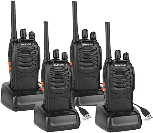 BAOFENG BF-88A FRS Radio Walkie Talkie 16-Channel Rechargeable Two Way Radio with Earpiece, LED Flashlight and USB Charger, 4 Pack