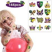 Tobbetter 144Pcs Mardi Gras Themed Party Favors - Temporary TATTOOS/12 Dozen/Teacher's Prizes Party Supplies