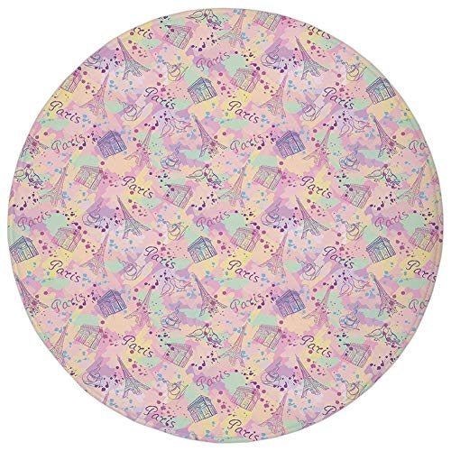 Round Rug Mat Carpet,Paris,Soft Color Palette with Cup of Coffee Architecture of the City Historical Landmarks Decorative,Multicolor,Flannel Microfiber Non-slip Soft Absorbent,for Kitchen Floor Bathro