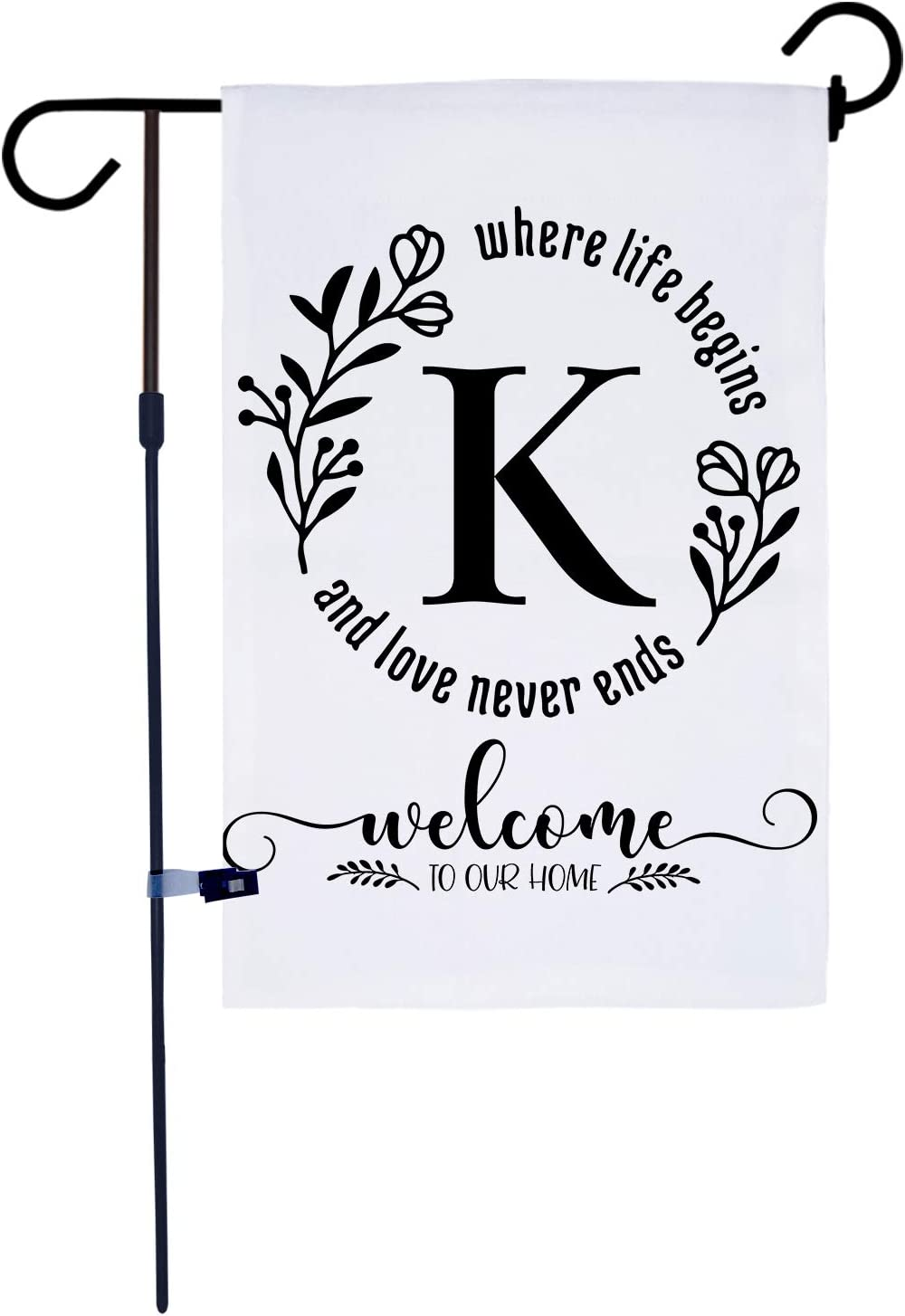 AKPOWER Small Garden Flag Vertical Double Sided 12 x 18 Inch Farmhouse Burlap Yard Outdoor Decor Classic Monogram Letter K