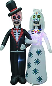 AJY 6 Feet Day of The Dead Couple Halloween Inflatable LED Lights Decor Outdoor Indoor Holiday Decorations,Blow up Lighted Yard Decor, Giant Lawn Inflatable Home Garden Party Favor Decoration