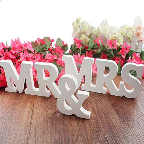 Wooden Letters MR & MRS Wedding or Anniversary Props Great for Decor and Photo Shoots, White]()