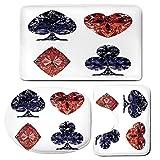 3 Piece Bath Mat Rug Set,Diamond-Decor,Bathroom Non-Slip Floor Mat,Diamond-Shaped-Cards-Poker-Face-Fortune-Symbols-Sapphire-Dijital-Prints,Pedestal Rug + Lid Toilet Cover + Bath Mat,Dark-Blue-Red
