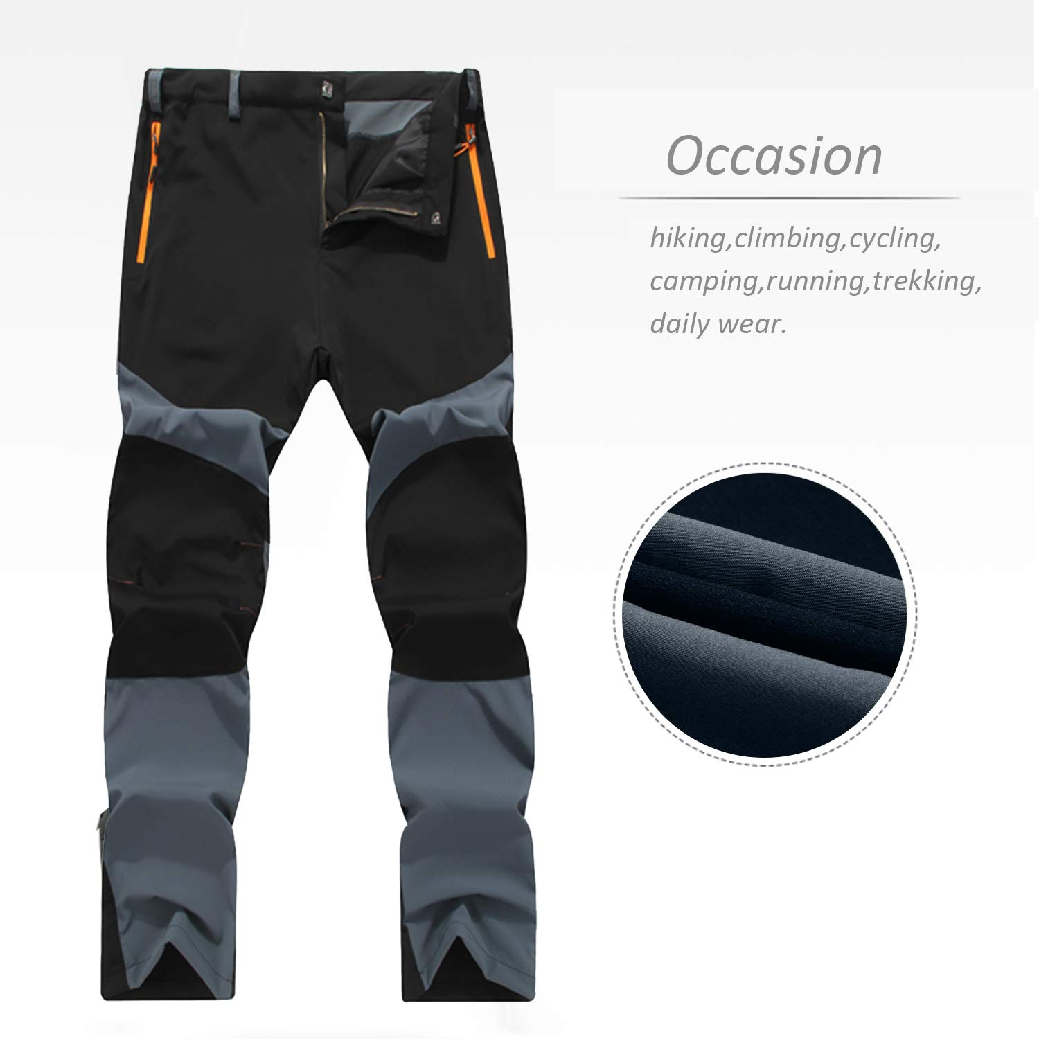 CHLNIX Mens Quick Dry Hiking Trousers Outdoor Lightweight Breathable Water Resistant Camping Trekking Running Cycling Walking Pants