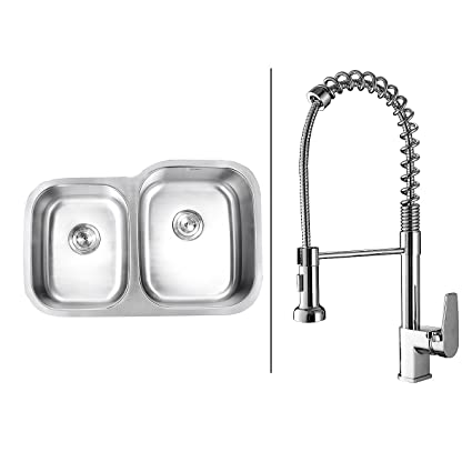 Ruvati Rvc1511 Stainless Steel Kitchen Sink And Chrome Faucet Set
