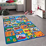 4'11''x6'11''ft Multi Colored Red Blue Green Orange Yellow Abstract Patterned Kids Area Rug, Indoor Artistic Alphabet Letters Girl Boy Nursery Room Mat Rectangle Carpet, Transportation Nylon Flooring