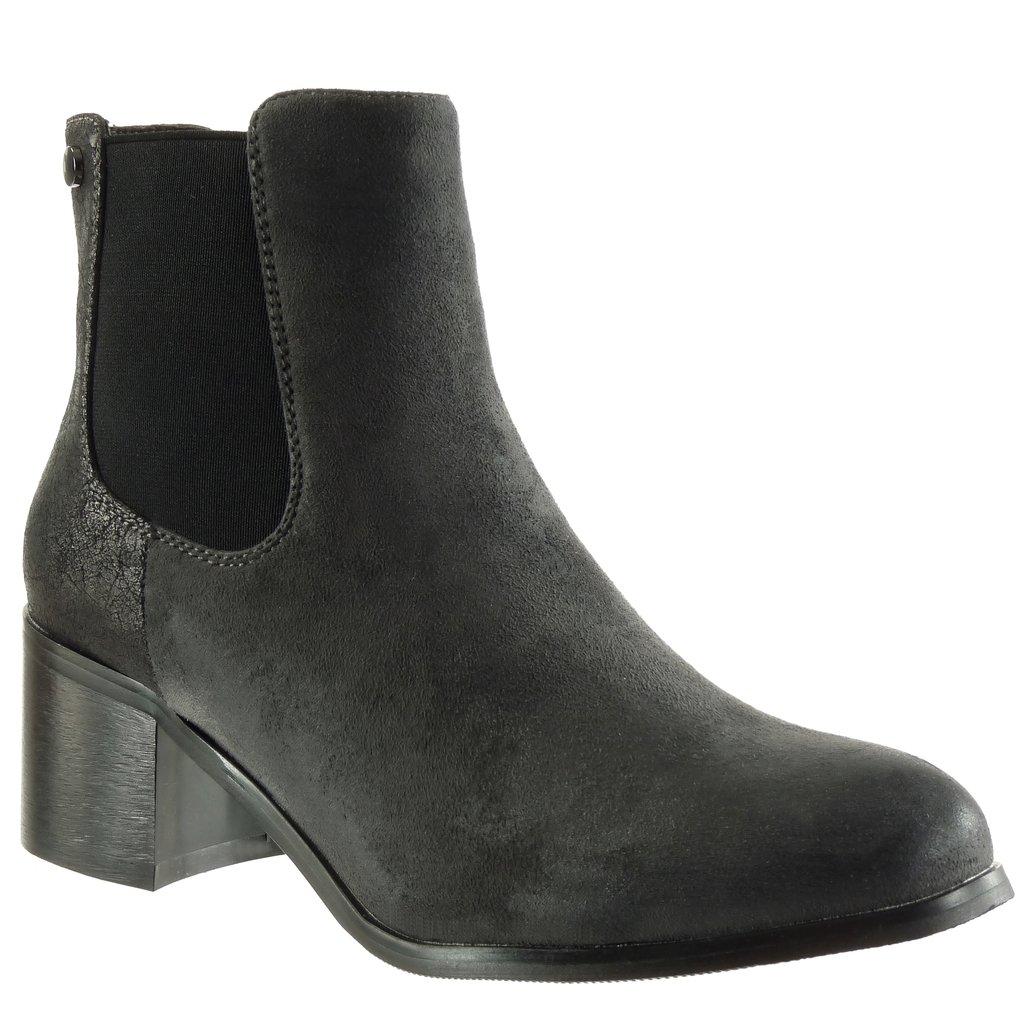 Angkorly Chaussure Mode Bottine Bloc Chelsea Vieilli Boots - Effet Vieilli Femme Brillant Clouté Talon Haut Bloc 5.5 CM - Intérieur Fourrée Gris de5d473 - jessicalock.space