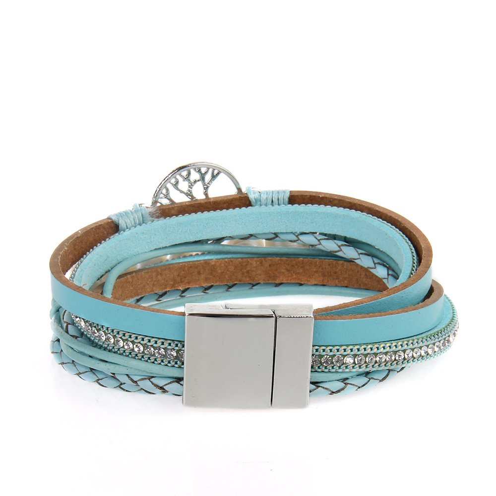 Jenia Tree of life Leather Bracelet Rope Wrap Pearl Cuff Wristband for Women with Gift Bags by Jenia (Image #5)
