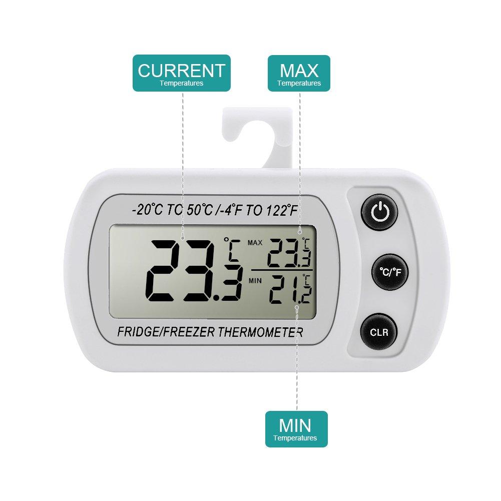 Dreamiracle Digital LCD Electronique Thermom/ètre R/éfrig/érateur Cong/élateur Sans Fil pour Maison Cuisine Restaurant Bars Caf/é Thermometre Frigo