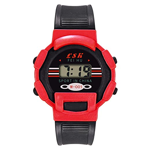 BBestseller Relojes Deportivo Infantil electrónico -Impermeable de Reloj con Alarma Cronómetro Inteligente LED Pulsera Inteligente Podómetro (Rojo): ...