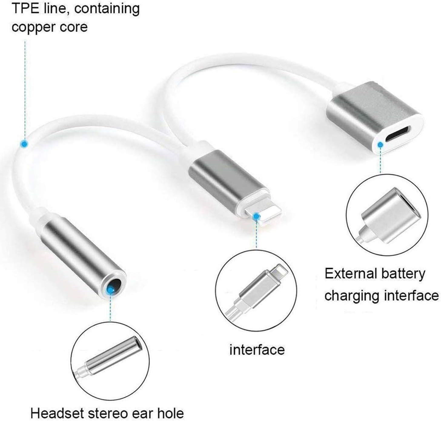 White Kopfh/örer Adapter f/ür iPhone 8 auf 3,5mm Klinke Splitter Dongle Kopfh/örer zubeh/ör Kabel zum Aux-Audio-Anschluss f/ür iPhone X//Xs//XS max//8//8 Plus//7//7 Plus 2 in 1 zubeh/ör Kabel IOS12 oder h/öher