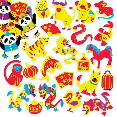 Baker Ross Chinese New Year Foam Stickers for Kids Perfect for Children's Arts, Crafts and Decorating for Boys and Girls (Pack of 120)