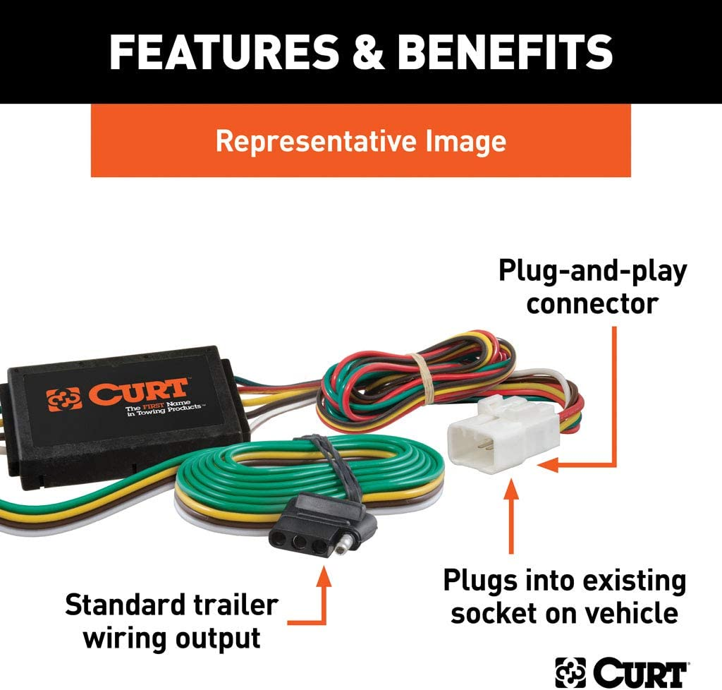 curt 56161 vehicle side custom 4 pin trailer wiring harness for select honda odyssey  t one vehicle wiring harness with 4