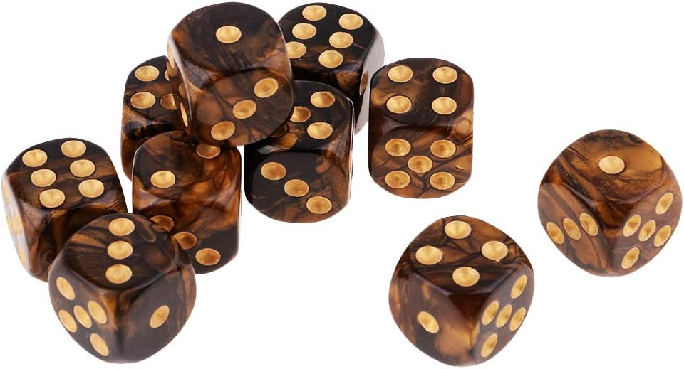 Six Sided Square Opaque D6 16mm Dice Die Blue/&Black Double Color Gold Pip