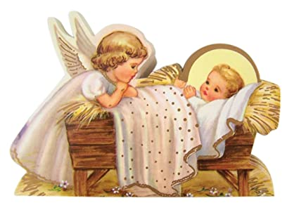 Christmas Nativity Angel With Baby Jesus Statuette Standing Cardstock Holy Card Pack Of 100