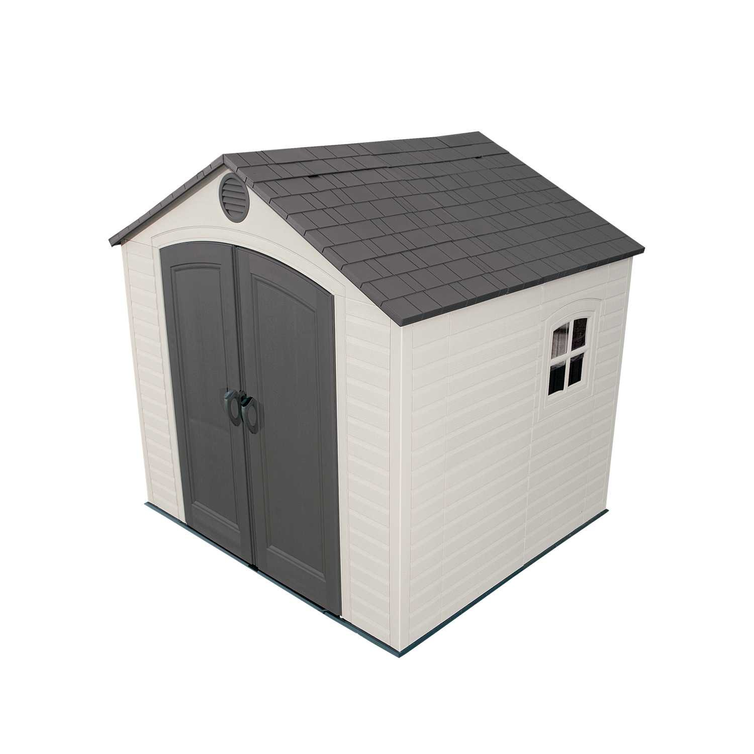 amazon com lifetime 6411 outdoor storage shed with window 8 by