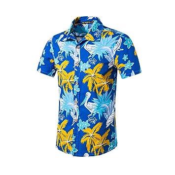 7a52ad88d SPONSOKT Camisa de Manga Corta de Los Hombres Camisa de Manga Larga de AlgodóN  Suelta Ocasional Top de Gran TamañO Camisa Playera Estampada de Moda: ...