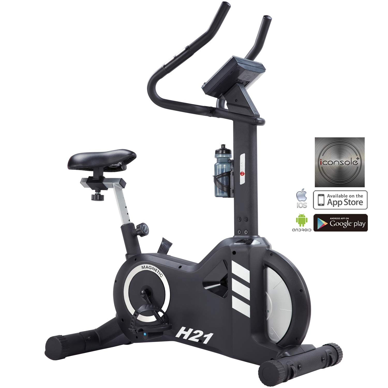 AsVIVA H21 Pro Heimtrainer und Ergometer, App & Blautooth kompatibel, Riemenantrieb inkl. Fitnesscomputer, schwarz