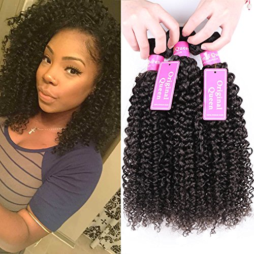 Original Queen 100% Brazilian Unprocessed Virgin Kinky Curly Human Hair Weave 3 Bundles Deep Curly Hair Extensions Mixed Length Natural Color 18 20 22inches