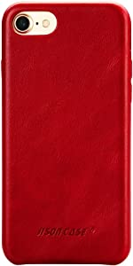 JISONCASE iPhone SE 2020 2nd Generation Case,iPhone 7 Case, iPhone 8 Leather Case, Slim Back Cover Snap Grip Case for Apple iPhone 7/ iPhone 8 4.7 inches, Red (TC-IP8-01A30)