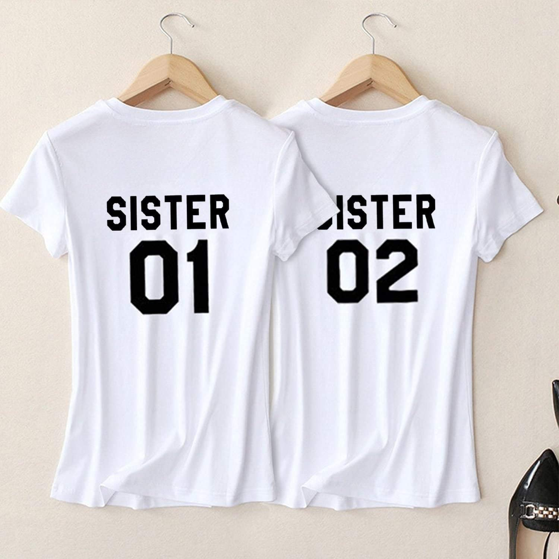 COUPLE FEMME T Shirt-Sister 01-Best Friends partenaires famille-poitrine pression