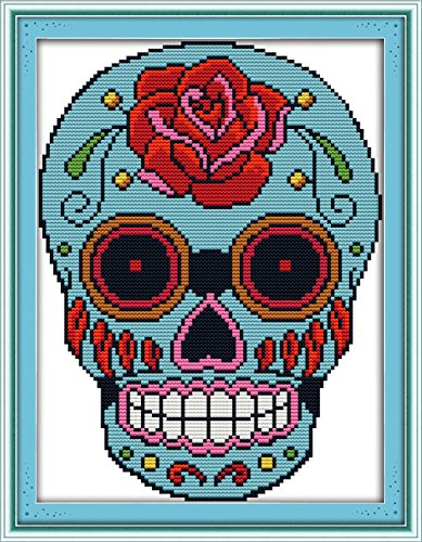 "eGoodn Cross Stitch Stamped Kits 11CT 3 Strands 11""X15.4"" Cross-Stitching Accurate Pre-printed Pattern - Skull, Handmade Needlework Set Embroidery DIY Home Decoration Without - Graph Grid Fabric"