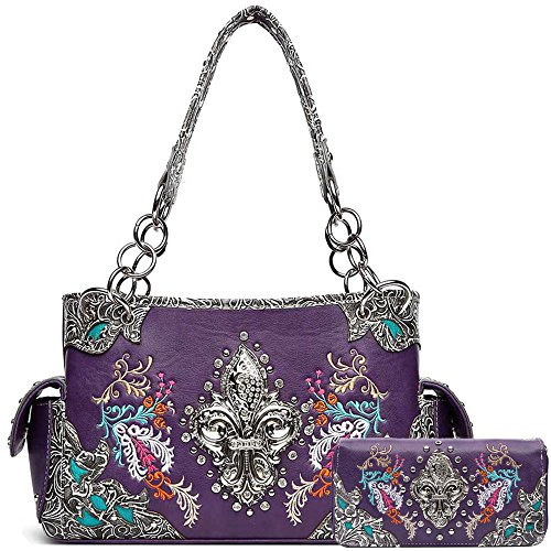 Western Style Fleur de Lis Embroidered Concealed Carry Purse Women Country Handbag Shoulder Bag/Wallet (Purple Set)