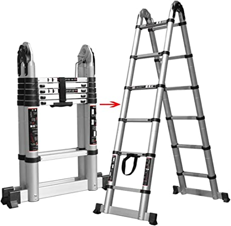 Escalera extensible/ Escalera telescópica Escalera de varias posiciones para escaleras del ático, Escaleras en forma de A plegables profesionales altas de aluminio, Techos exteriores para el hogar, So: Amazon.es: Hogar