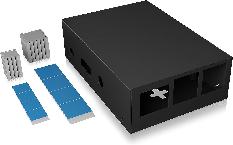 ICY BOX Raspberry Pi 3 60474 - Caja Completa de Aluminio con 2 disipadores de Calor, Montaje en Pared, Color Negro: Amazon.es: Informática