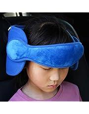 FREESOO Bébé Support de Tête de Voiture Siège de Sécurité Pour Enfant Doux Confortable Porte-Tête Fixation Ceinture Sièges de Voiture Réglable Oreiller de sécurité pour Bébé Enfant Adulte Bleu