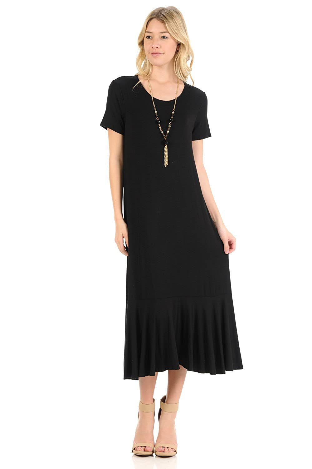 Black Flapper Dresses, 1920s Black Dresses iconic luxe Womens A-Line Ruffle Hemline Midi Dress $22.99 AT vintagedancer.com
