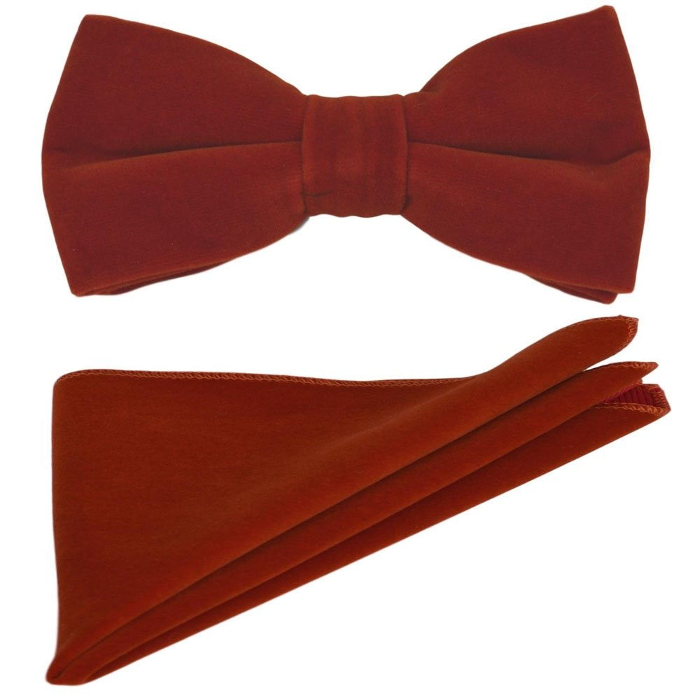 Luxury Amber Brown Velvet Bow Tie /& Pocket Square Set