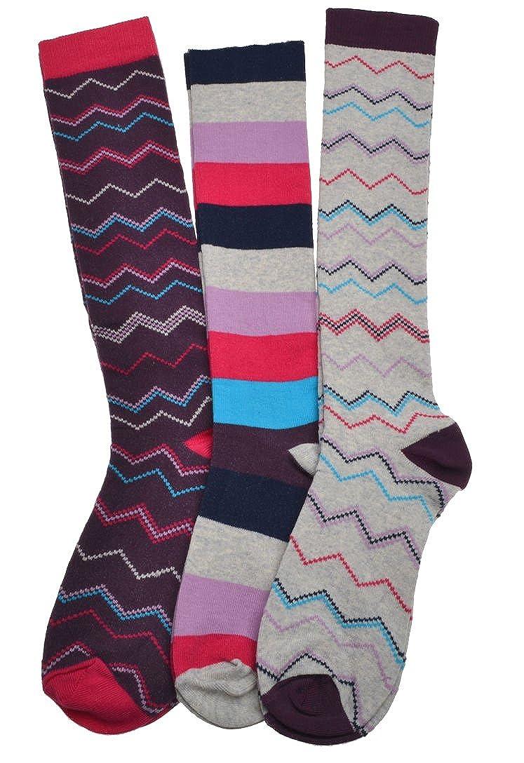 3 Pairs of Stripey Ladies Long Socks - Knee High Boot socks W Brewin