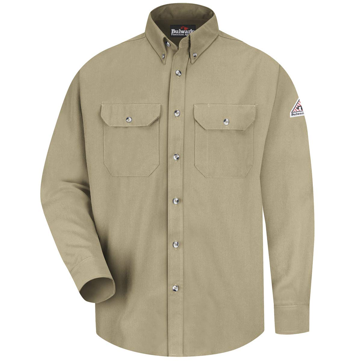 Bulwark Medium Khaki Cool Touch 2 Flame Resistant Shirt With Button Closure