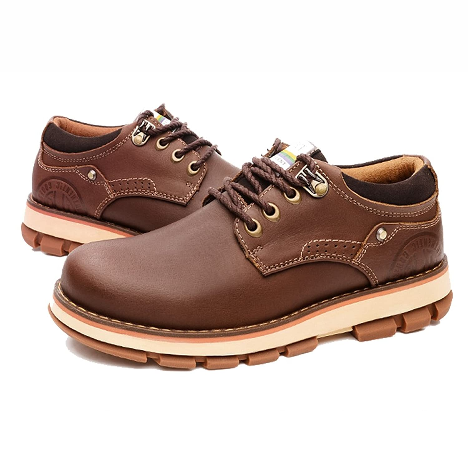 5c5327d04 Qianling Collection Men s Casual Flat Shoe Chocolate Head Layer Cowhide  Oxford Shoes US7