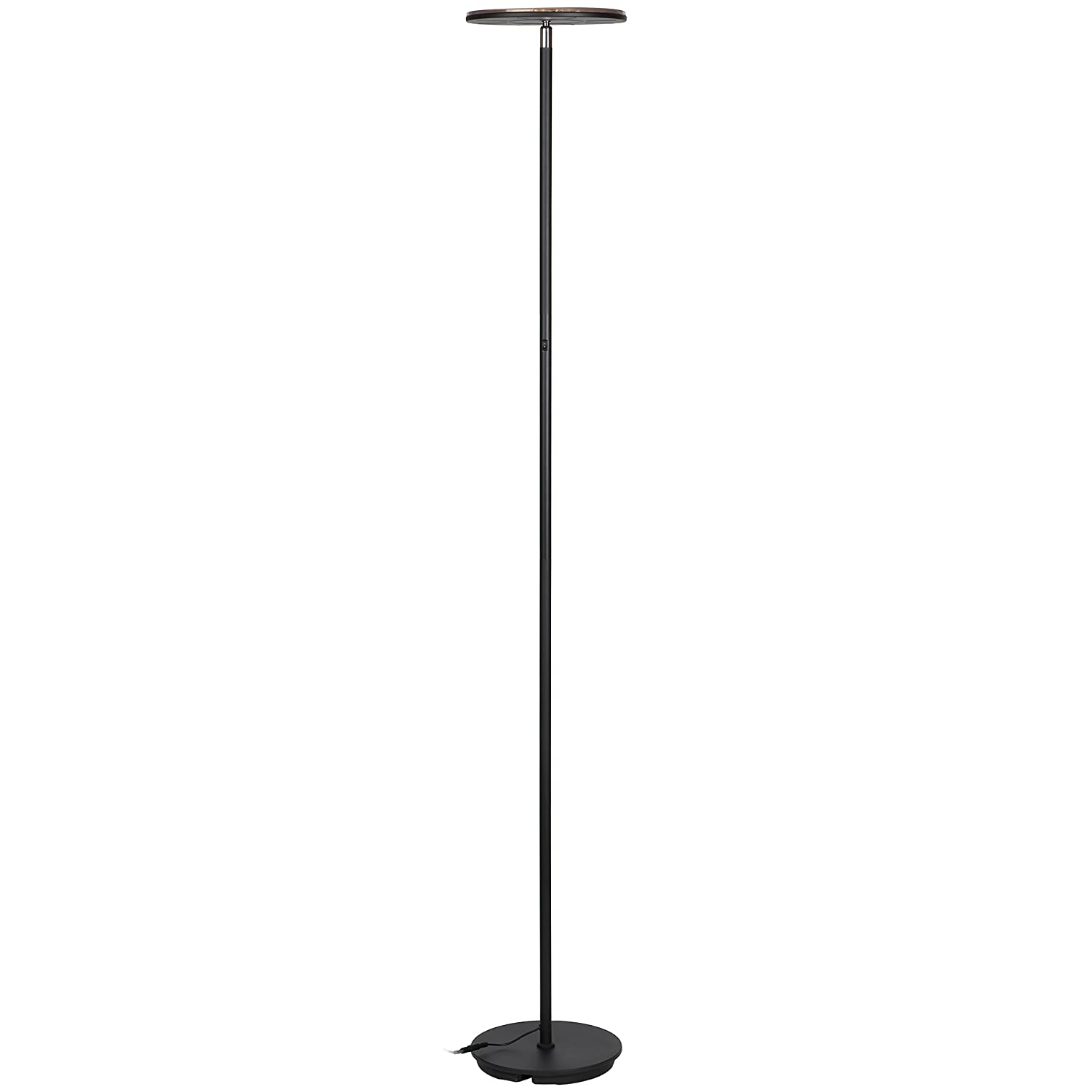 Brightech Kuler Sky - Color Changing Torchiere LED Floor Lamp - Dimmable, iOs & Android App Enabled Light - Remote Control Lamp for Living Rooms, Game Rooms & Bedrooms - Adjustable Pivoting Head - Bla SKYRGBBK