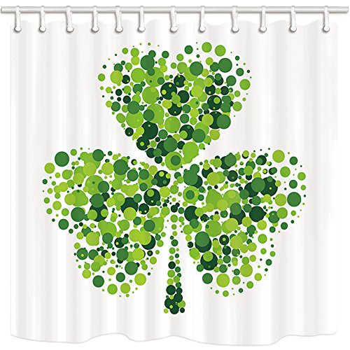 NYMB Green Clover Leaves Shower Curtains for Bathroom, Shamrock Leaf on White for Saint Patrick's Day, Polyester Fabric Waterproof Bath Curtain, Shower Curtain Hooks Included, 69X70in
