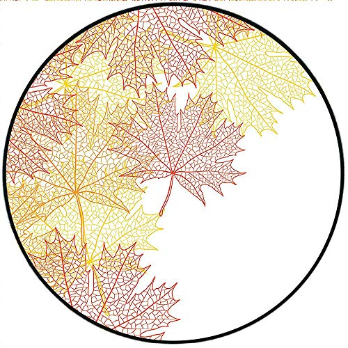 Short Plush Round Carpets Collection Pattern with Maple Tree Fall Leaves Skeleton Dried Golden Forms Halloween Decoration Red Yellow Soft Bedroom 31.5