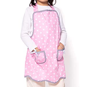 NEOVIVA Bib Aprons for Toddler Girls with Pockets, Lightweight Kids Chef Apron for Play Kitchen Style Wendy, Polka Dots Pink