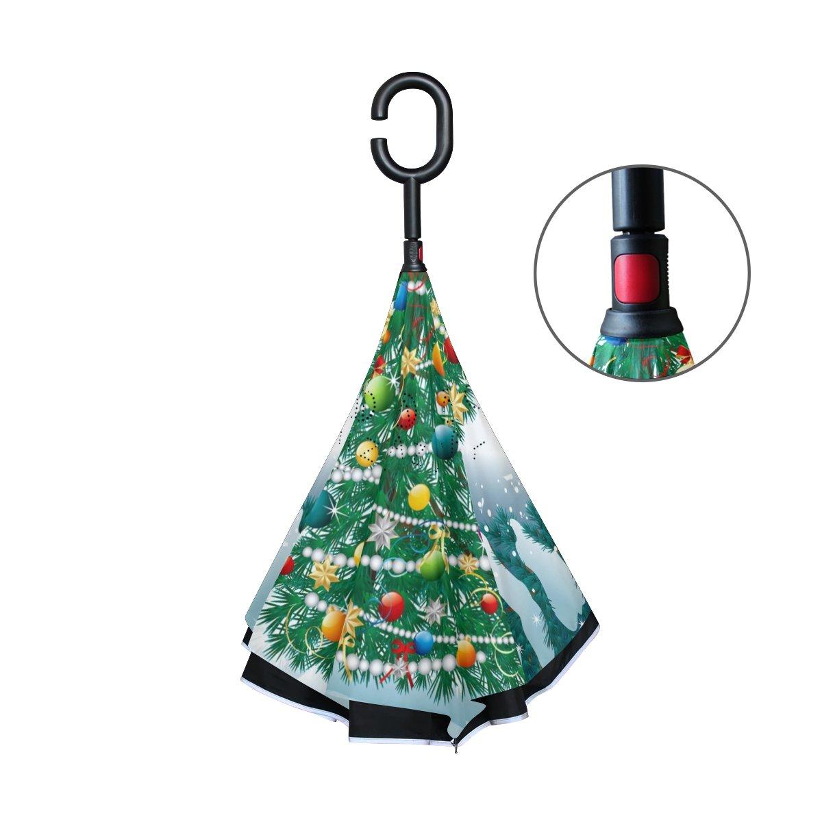 Amazon.com : imobaby Christmas Tree Inverted Umbrella with Reverse ...
