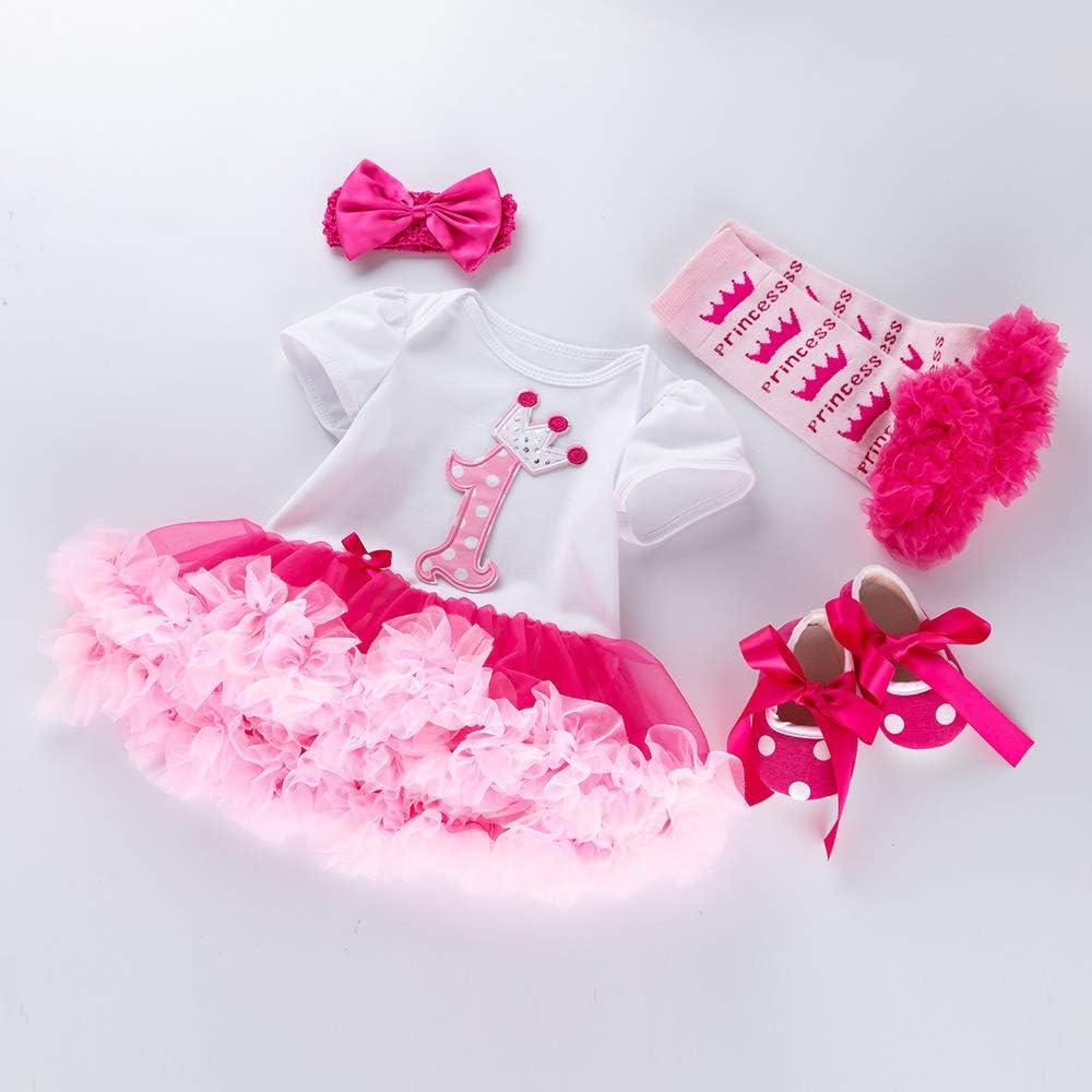 Marlegard B/éb/é Fille Premi/ère Naissance Crown Tutu Robe Bandeau Chaussures