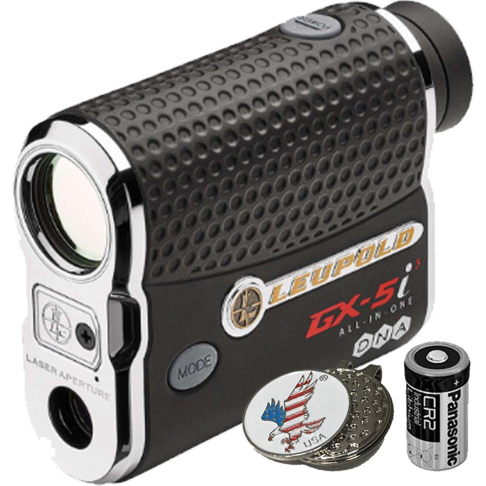 Luepold Golf GX-5i3 Rangefinder + CR2 Battery + 1 Custom Ball Marker Clip Set (American Eagle) by Leupold